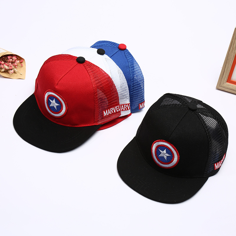 Cartoon Parent-Child   Baseball     Cap   Super Hero Captain America Pentagram Summer Kids Sun Hat Mesh   Cap   Snapback Children   Caps