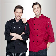 Unisex Chef Top Clothing Uniform,Restaurant Chef Jackets,Long Sleeve Double-Breasted, Chef's Kitchen Work Wear,Free Shipping,C10