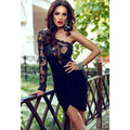 2016 New Europe And American Style One Sleeve Sexy Black Lace Women Party Mini Slim Casual Summer Bodycon Dress