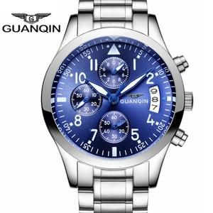 Image 2 - GUANQIN Fashion Brand Watch Men Luxury 2018 Stainless Steel Men Watch Date Waterproof Male Clock Man Black Wrist Quartz Watch B