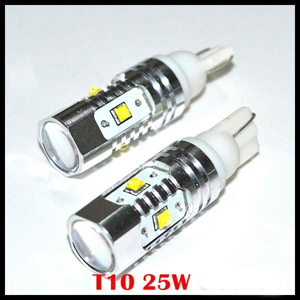 2pcs White T10 W5W 360 Degree 25W 168 921 Cree chips led  5LED Bulb Free Error Backup Reverse Light Auto led Car lamp error free t15 socket 360 degrees projector lens led backup reverse light r5 chips replacement bulb for hyundai tucson