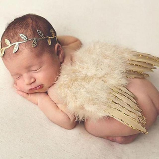 Elastic Infant Newborn Leaves Headband + Feather Angel Wings Costume Baby Photograph Props