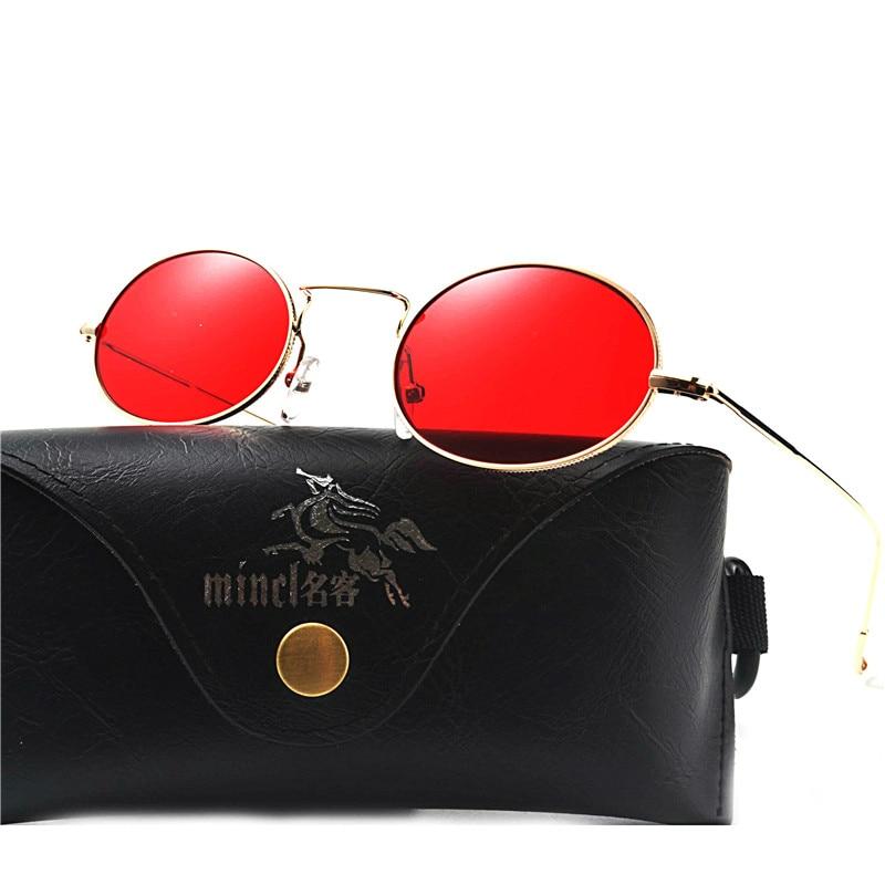 MINCL/Retro Round Sunglasses Metal Frame Men and Women Small Size Sunglasses Female Vintage Red lense Sun Glasses UV400 FML