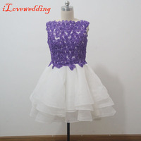 Fashion Homecoming Dresses Sleeveless Short White Organza with Purple Handmade Flower Open Back Graduation Dress for 8th Grade
