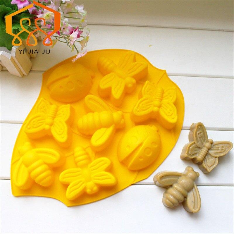 Cake Tools Cupcake Pečení Tray Kuchyně Bakeware Silikon Non-Stick 8ks Zvířata Dort / Ice Cube Zásobník / Chocolate Pudding Mold