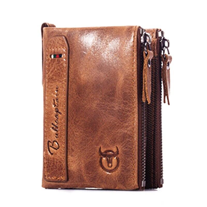 2019 Mode 2018 Neue Heiße Bullcaptain Bifold Vintage Marke Leder MÄnner Brieftaschen Leder Geld Zipper Kurze Brieftasche Karte Halter Kleine Münze Pur