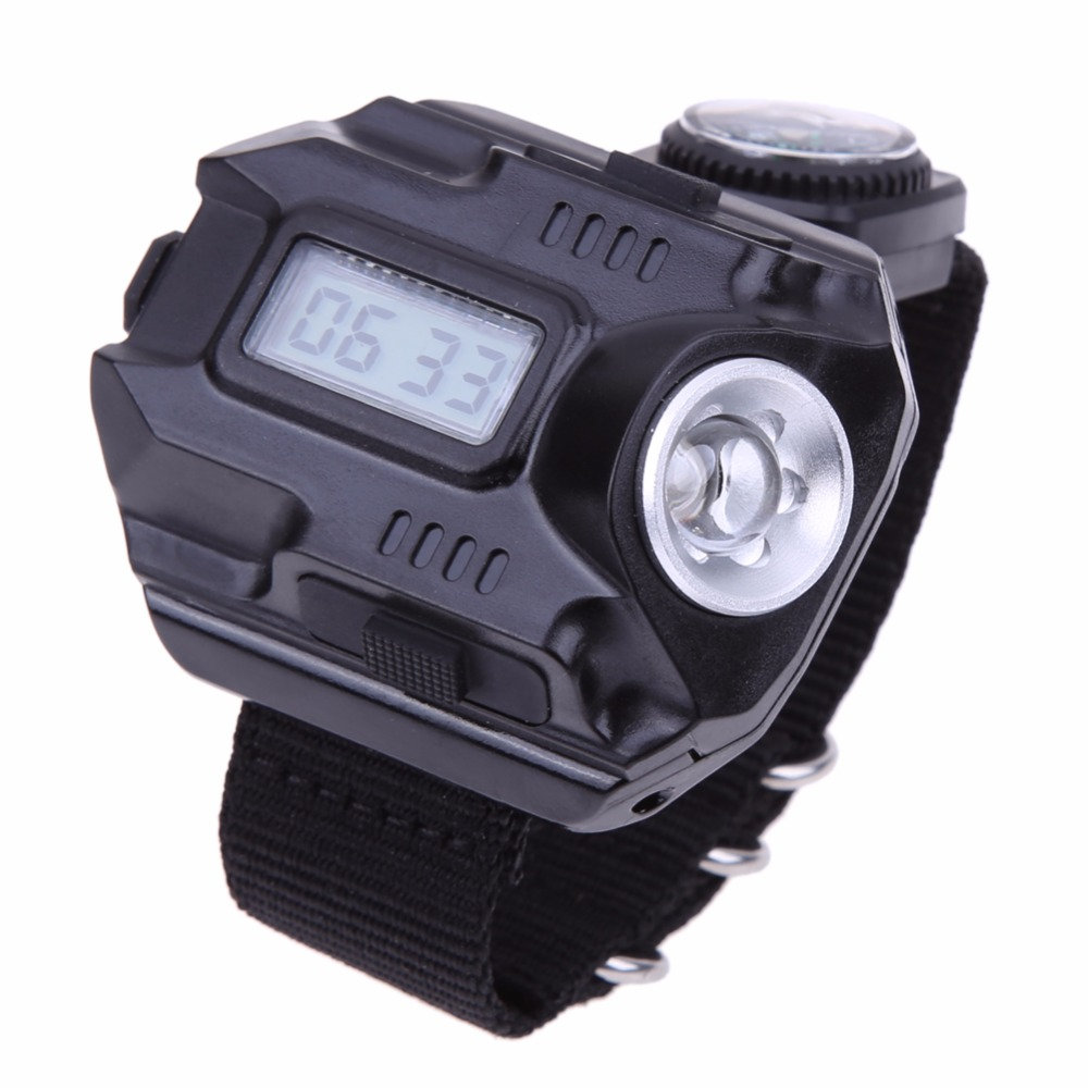 LED Tactical Watch Outdoor Waterproof LED Tactical Clock with Flashlight Wrist Watch Rechargeable Hiking Camping Lamp LED Torch 3 in 1 bright watch light flashlight with compass outdoor sports mens fashion waterproof led rechargeable wrist watch lamp torch
