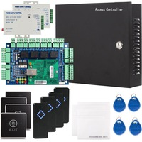 Security TCP/IP Network RFID Access Control Board Kit Metal AC110V Power Converter Box with 125KHz USB Card Reader for 4 Doors