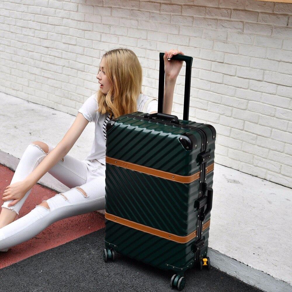 Hardside Bagage Roulant Sur Valise 20 24 26 29 Bagages En Aluminium Cadre TSA Bagages Valise Trolley De Voyage De Roues