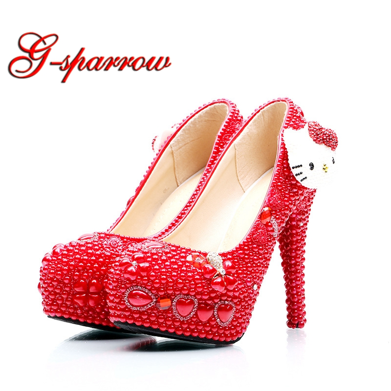 New Design Handmade Red Wedding Shoes Decoration Rhinestone Bridal