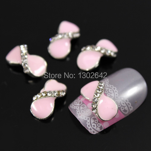 D76 10pcs/lot Fashion Cross Bow Tie Rhinestone Alloy Nail Art Finger Tips Nail Accessories Free Shipping