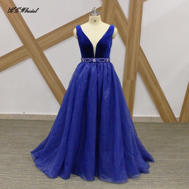 Royal Blue Long Formal Evening Dress Velvet Top Organza Skirt Beaded ...