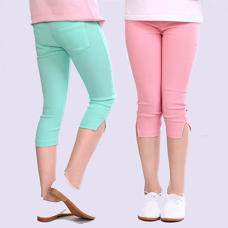 Girls Summer Candy Color Pencil Pants Calf-Length Girls Leggins Elastic Leggings for Girls Kids Children Clothing Leginsy Pants