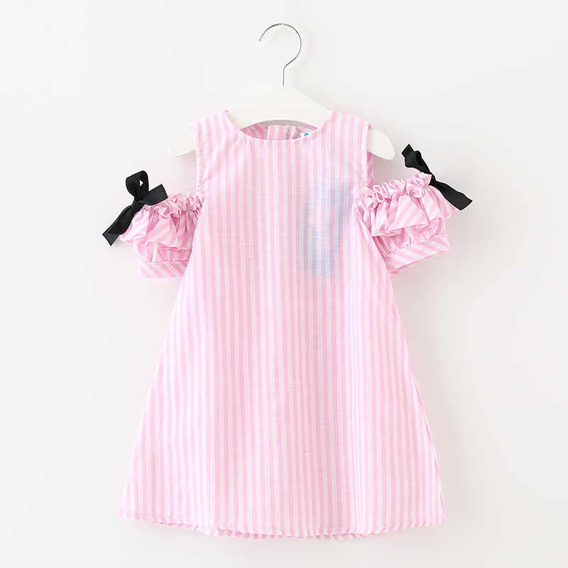 2017 New Summer Style Baby Girls Dress Cute Striped Clothing Children's Clothes Costume For kids Little Girl Bow Dresses 2d090 2016 new girls clothes brand baby costume cotton kids dresses for girls striped girl clothing 2 10 year children dress vestidos