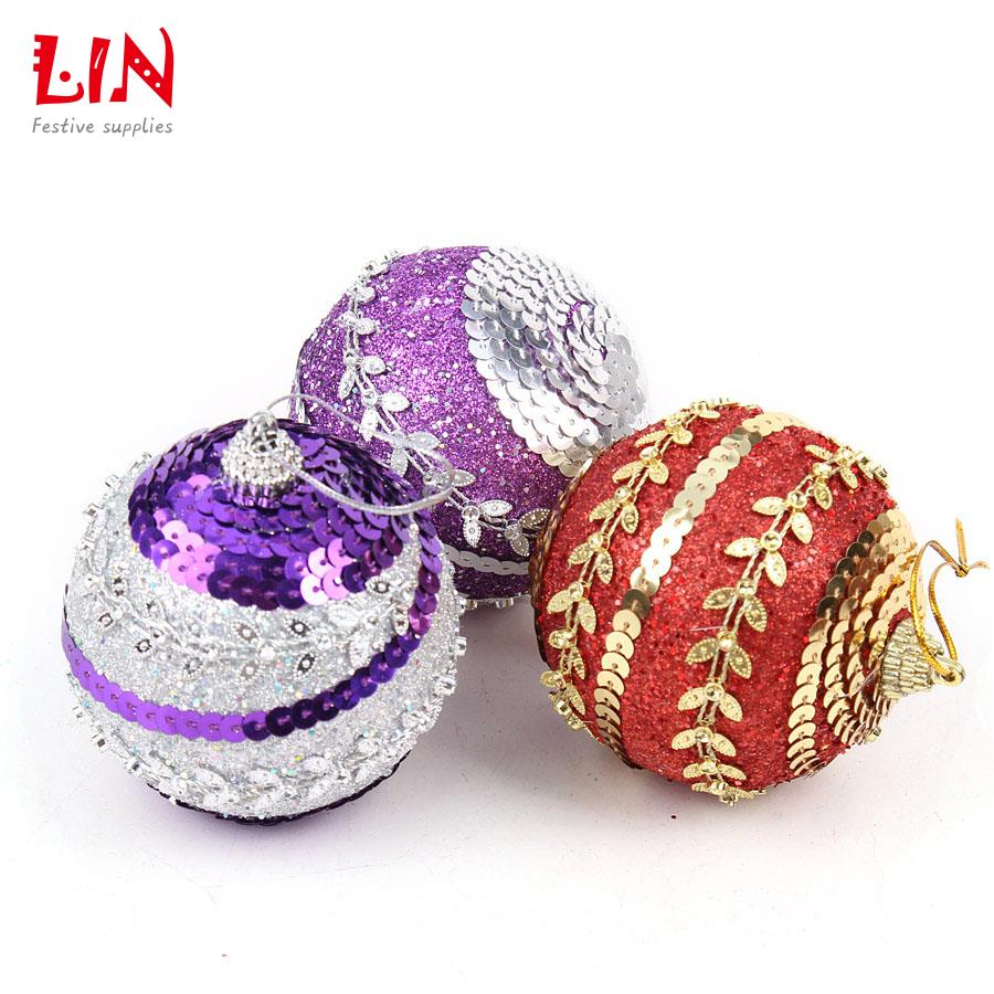 Styrofoam christmas ornaments - Aliexpress Com Buy 8cm Sequins Glitter Christmas Ornaments Tree Pendant Decoration Natal Balls Adornos Navidad Craft Supplies Styrofoam Ball From Reliable