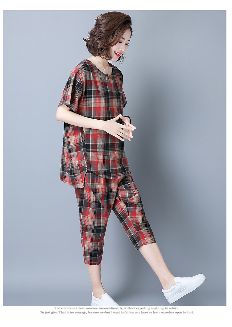 2019 Summer Plaid Cotton Linen Two Piece Sets Outfits Women Plus Size Short Sleeve Tops And Cropped Pants Casual Suits Red Green 44