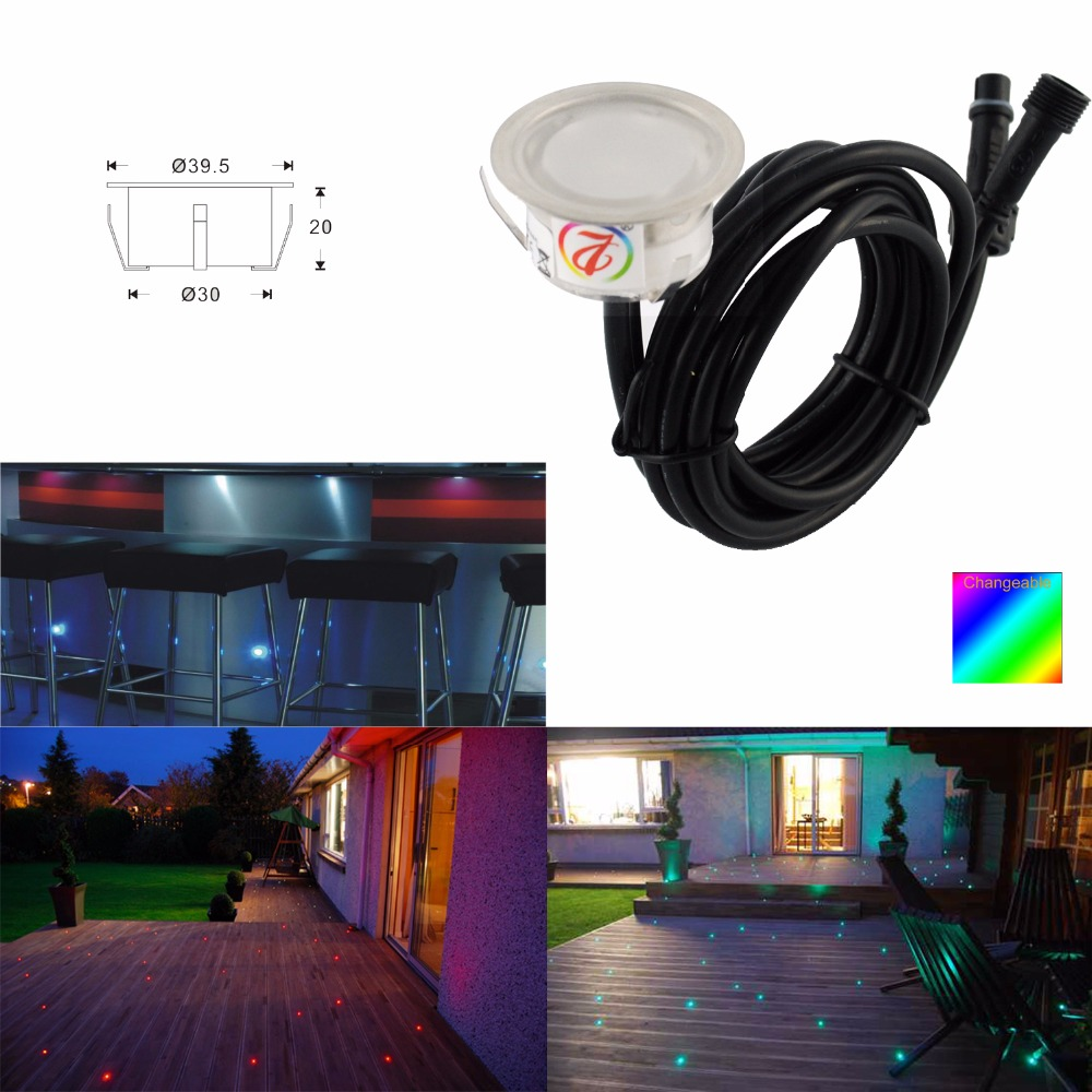 Adjustable Colour Changing LED Garden Decking Light Kits 12pcs/set stair RGB LED Lighting Underground Exterior Led Lamp DC12V