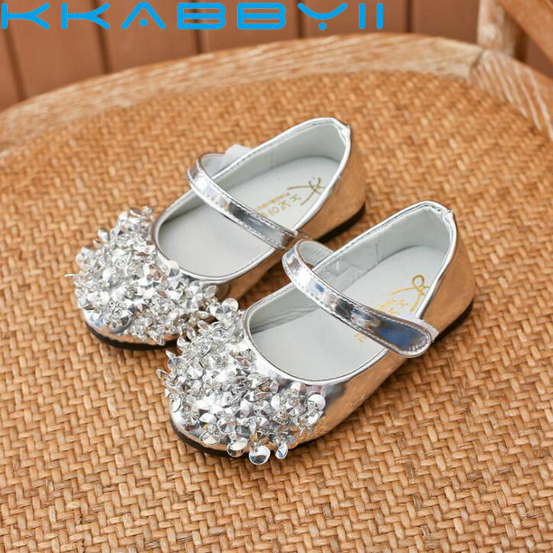 Childen Girls Sequins Diamond Patent Leather Shoes For Big Student Girls Kids Princess Single Shoes Kids Flat