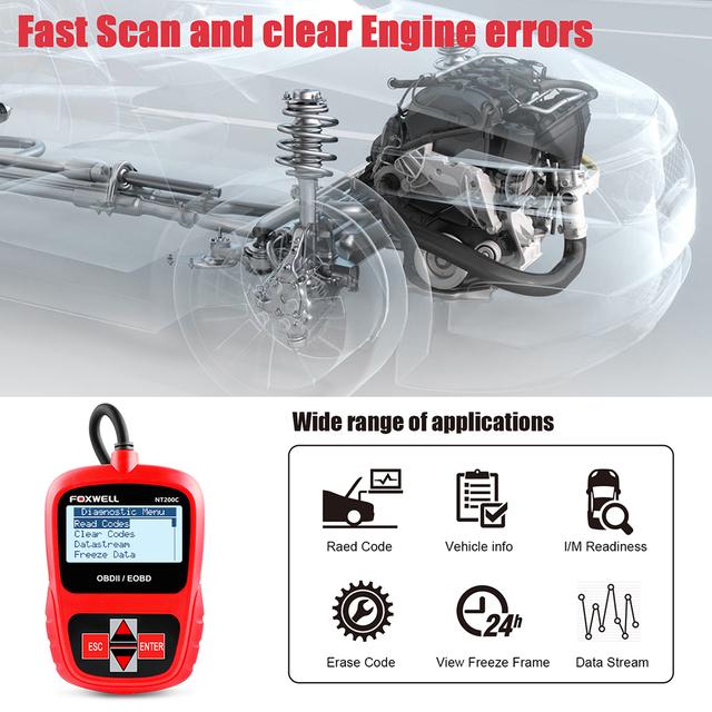 FOXWELL NT200C OBD2 OBDII Automotive Scanner Engine Code Reader Sensor Freeze Frame OBD 2 Car Diagnostic Tool Better than ELM327