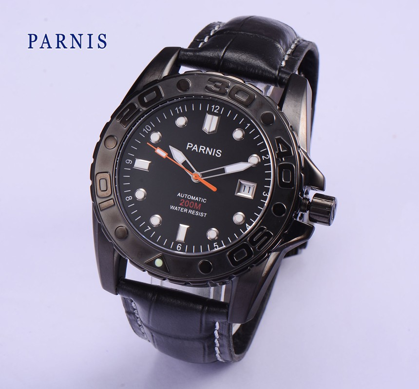 Fashion 43mm Parnis PVD Case Black Dial Date Sapphire White Mark Luminous Automatic Movement Mens Mechanical Wristwatches цена