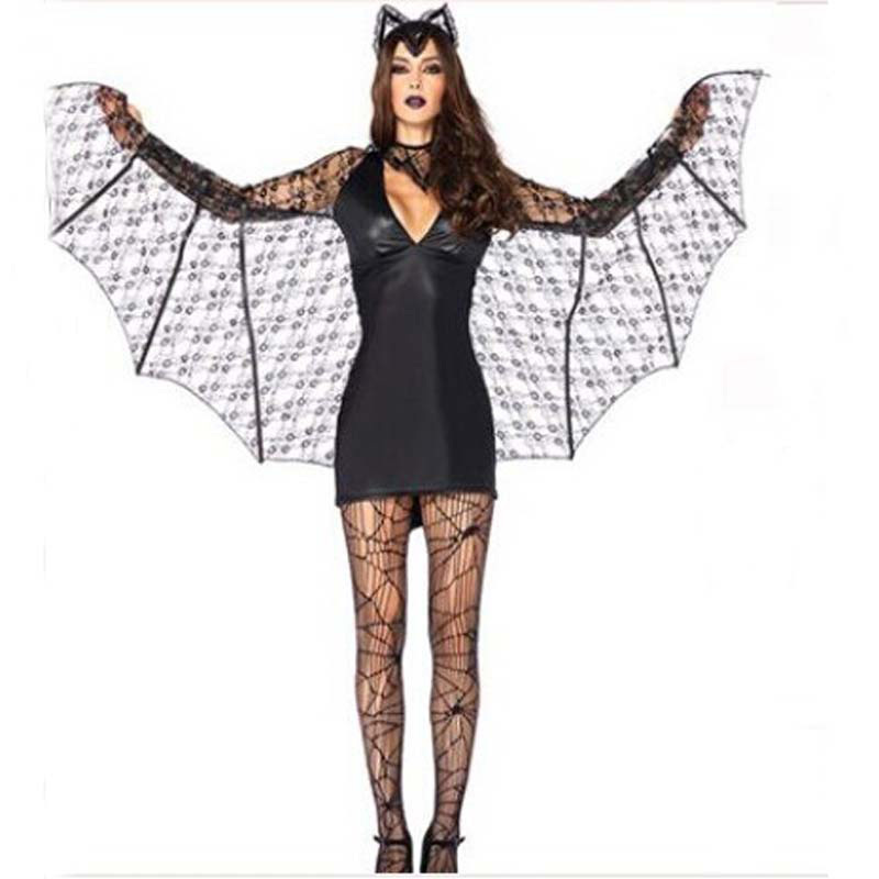 2018 New Halloween Masquerade Vampire Ladies Cosplay Costumes Black Batman Game Uniforms Clothing Halloween Costumes For Women