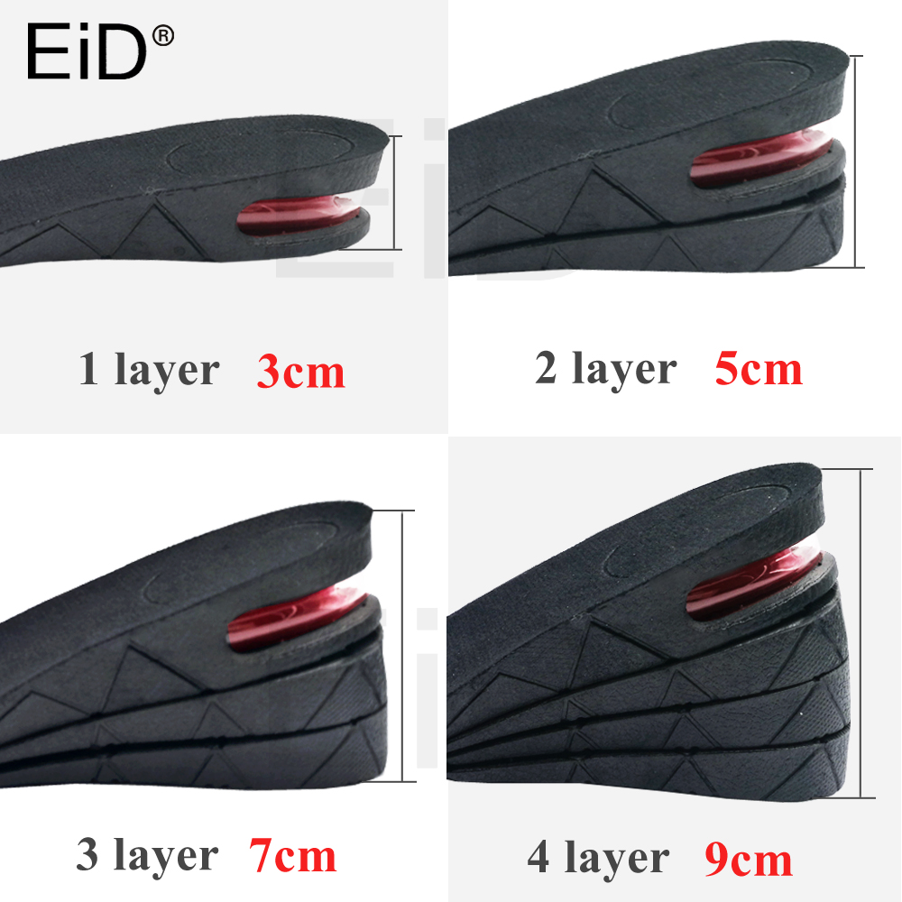 EiD 3-9cm Height Increase Insole Cushion Height Lift Adjustable Cut Shoe Heel Insert Taller Support Absorbant Foot Pad for bootsEiD 3-9cm Height Increase Insole Cushion Height Lift Adjustable Cut Shoe Heel Insert Taller Support Absorbant Foot Pad for boots