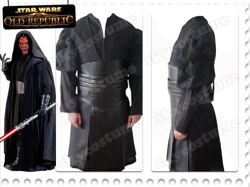 Фото Star Wars Darth Maul Tunic Robe Cosplay Costume Cloak Pleather Uniform Halloween Full Set. Купить в РФ