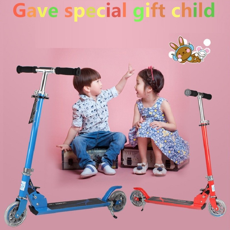 2017 Child two-wheel scooter folded Kick scooters big wheel scooter Foot Scooters folding kick scooters foot scooters children best birthday gift with flash pu wheels free shipping