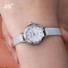 Hot Sale Silver Stainless Steel Shell Thin Leather Band Wrist Watch Wristwatches for Women Girl Black White Pink