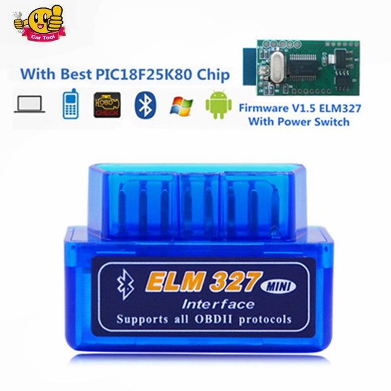 Prix pour Super MINI ELM327 V1.5 Bluetooth Interrupteur D'alimentation 16Pin OBD scanner fonctionne sur Android Couple avec puce PIC18F25K80 ELM 327 V 1.5