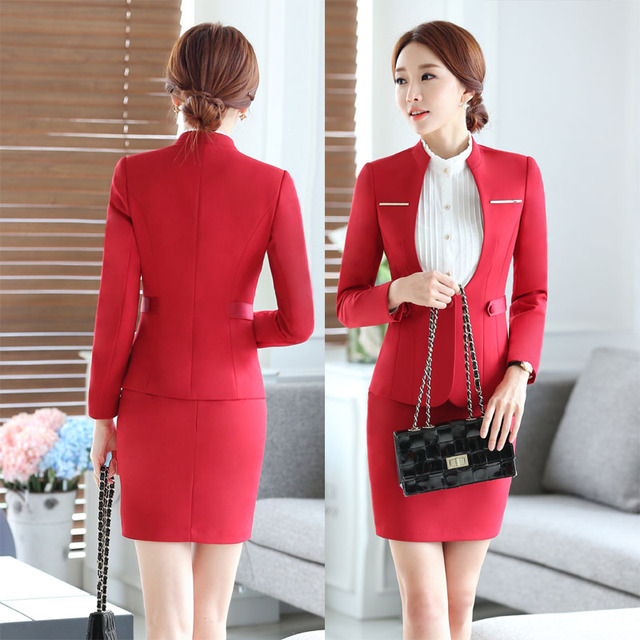 Novelty Red Professional Skirt Suits With Jackets And Skirt Formal OL  Styles Spring Fall Business Women fae53a21a