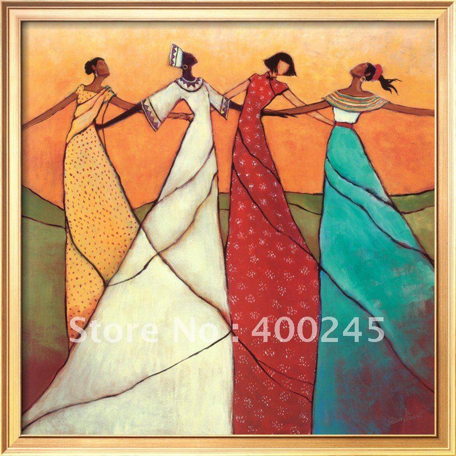 €63.75 23% de réduction|Moderne peinture à l\'huile abstraite femme  africaine art pour chambre décor unité 100% à la main huile sur toile de  haute ...