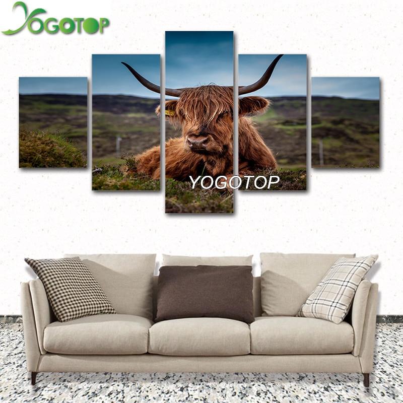 YOGOTOP DIY Вышивка с кристаллами наборы полный 5D квадратный дрель Мозаика Природных животных highland корова 5 шт. ML543