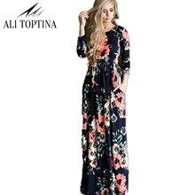 ALI TOPTINA Women Floral Print Wrist Sleeve  Waist Boho Dresses Femme Vestidos Ladies Evening Party Long Beach Maxi Dress Lyq119