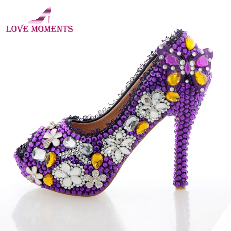 Purple Wedding Shoes Crystal High Heel Bridal Shoes Handmade Nightclub Rhinestone Bride Shoes Peep Toe Spring Women Prom Pumps spring summer new women red heart rivet pearl tassel high heel wedding shoes crystal casual nightclub party pumps shoes b
