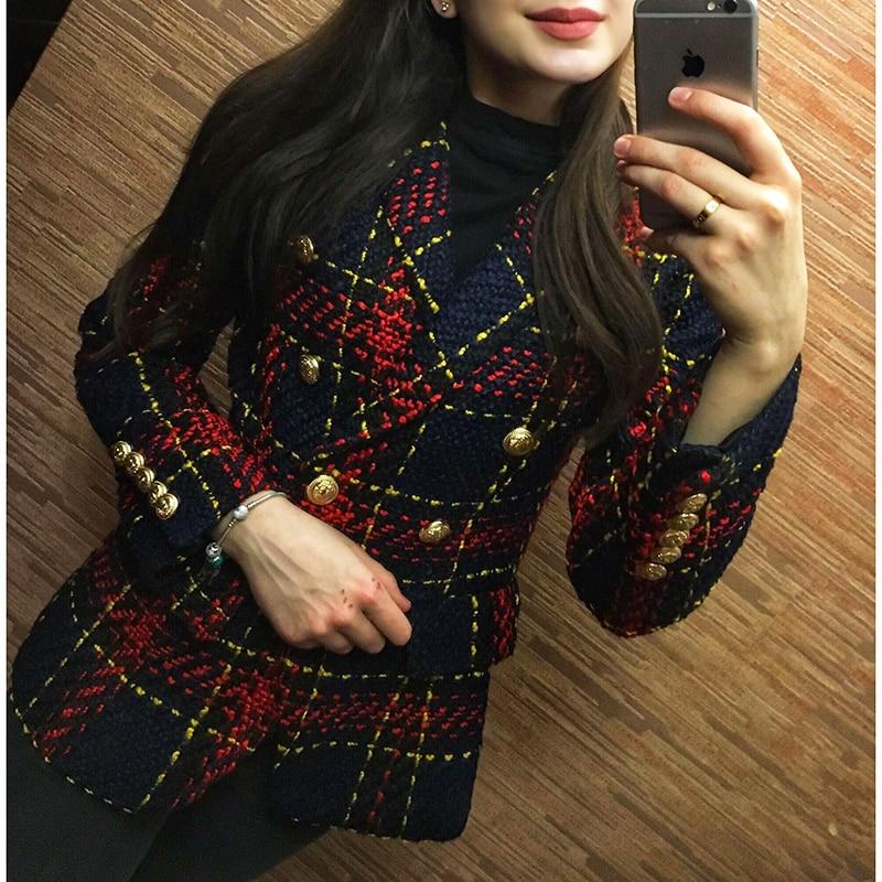 Nuevo Mujeres Lana Doble Estilo Metal León Del Alta Exterior Calidad Botones Breasted Abrigo Chaqueta Las 2018 De Tweed Cuadros Diseñador q8CETnw