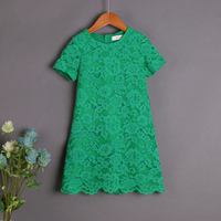 Brand Design Children Clothes Mom Kids Girl Green Lace Skirt Mother Daughter Dress Mommy Girls Beach