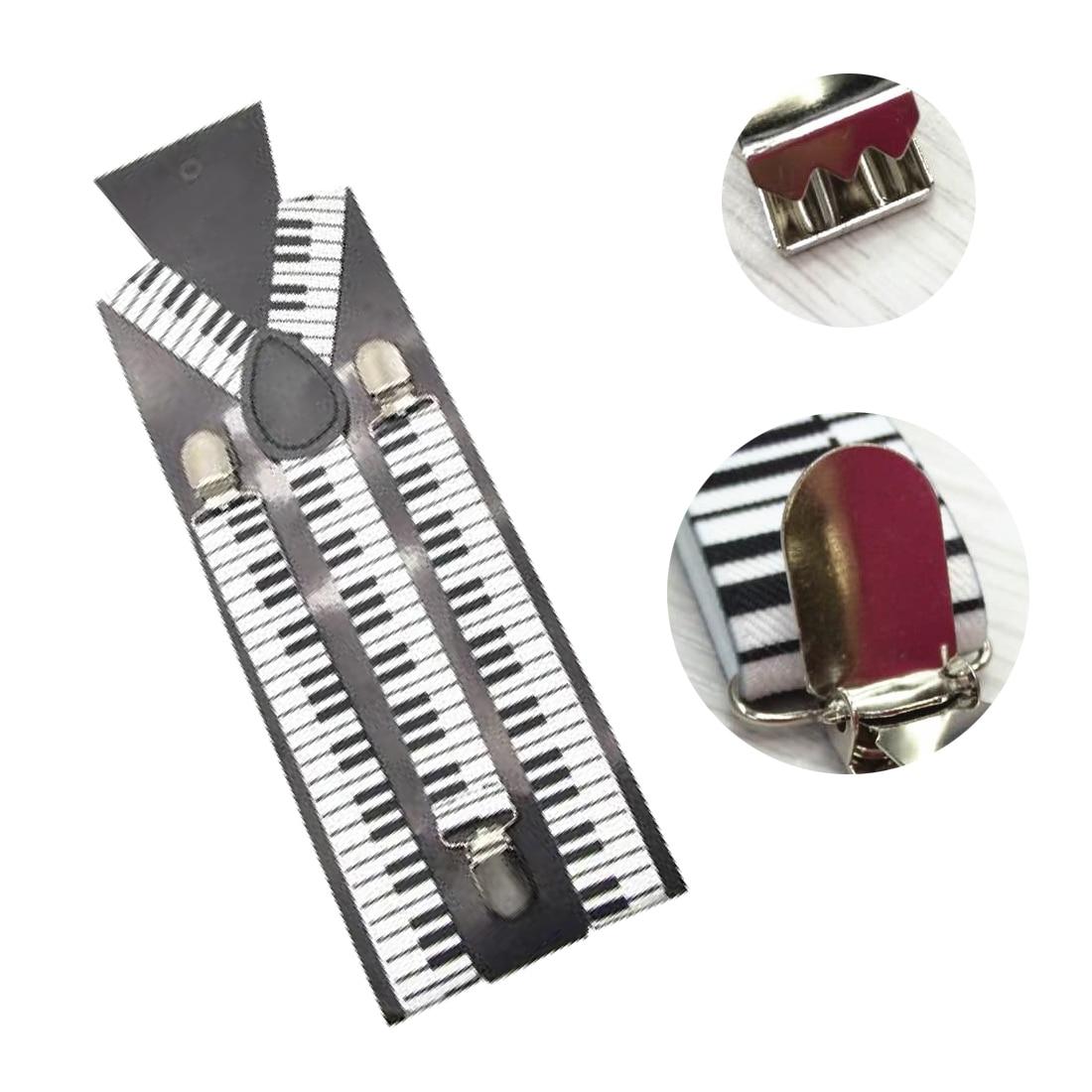2.5cm/1Inch Wide Men Unisex Piano Key Board Pattern Suspender Clip-On Braces Elastic Braces Y-Back Suspenders