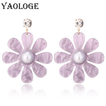 YAOLOGE Classic Flower Acrylic Earrings Inlay Imitation Pearl Bohemian Style Creative Personality Jewelry For Women Accessories
