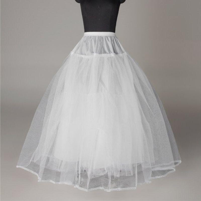 Women Bridal 3 Hoop A-Line Floor-Length Full Slip Petticoat Ball Gown Two-Layer Elastic Waist Wedding Dress Crinoline Underskirt