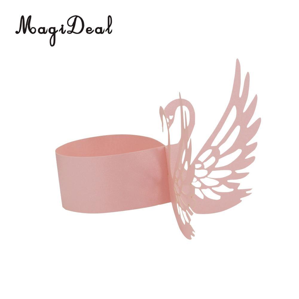 MagiDeal 50Pcs Stylish Beautiful Swan Paper Napkin Rings Holders ...