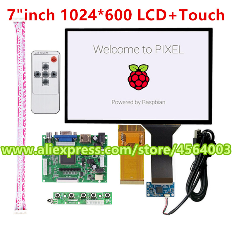 7 inch <font><b>1024</b></font><font><b>*</b></font><font><b>600</b></font> HD display TTL LVDS LCD Monitor Resistive touch screen Controller driver board HDMI VGA 2AV kit for Raspberry Pi image