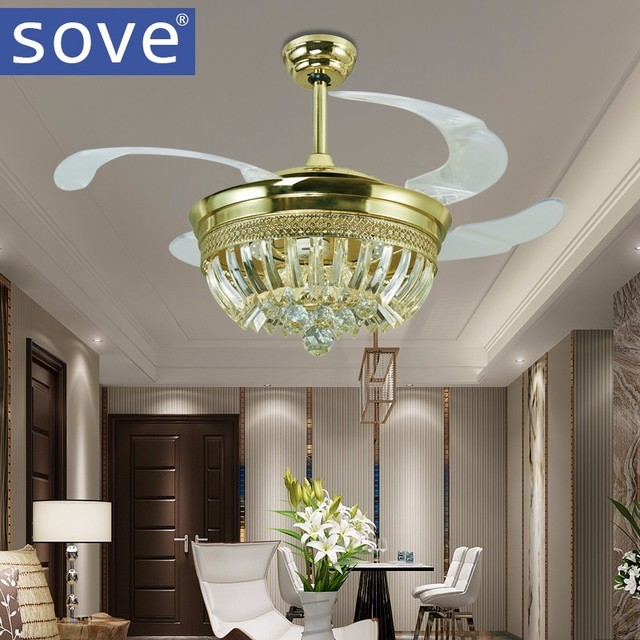 Luxe Kristal Onzichtbare Plafond Ventilator Afstandsbediening Living ...