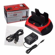 "2.5"" 3.5"" Dual USB 2.0 SATA IDE External HDD Box Dock Station Hub Card Reader OTB US Plug For Windows/Mac Computer New"