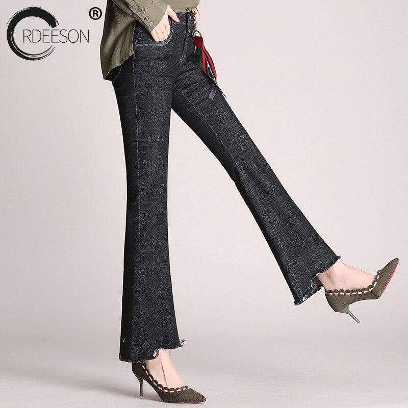 ORDEESON Plus Size Jeans Woman Bell Bottom Pants Bell Bottom High Waist Jeans Tassel Fringe Pants Skinny Jeans Womens Denim black lace details bell bottom pants