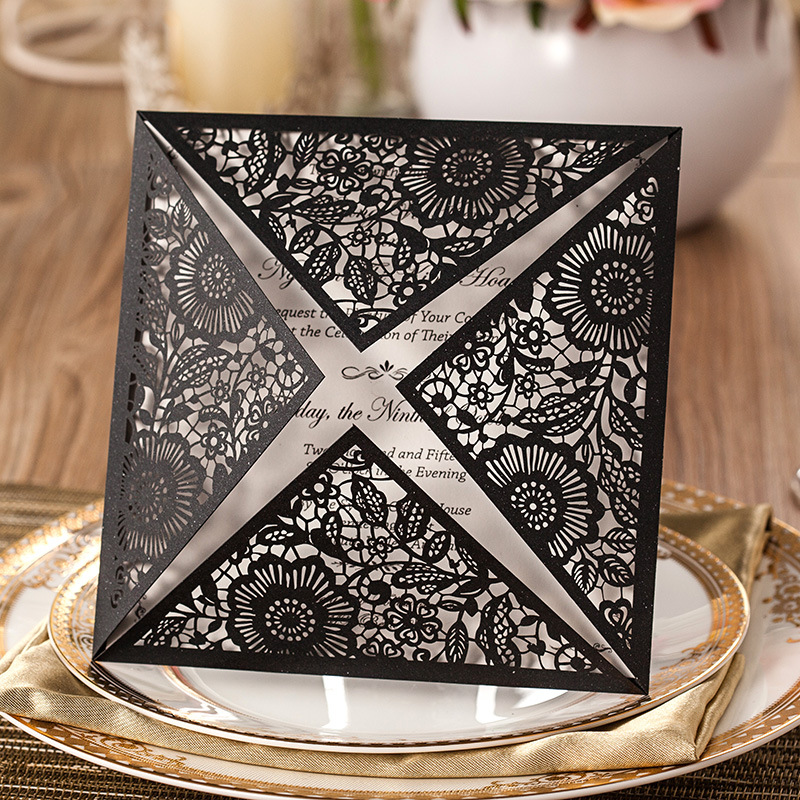 50 Luxury Sets Laser Cut Engagement Invitations Wedding Invite Gatefold DIY 63 Free Shipping Black In Cards From Home