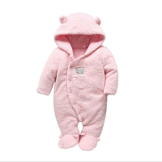 Soft Winter Romper for Babies with Cute Bear Ears