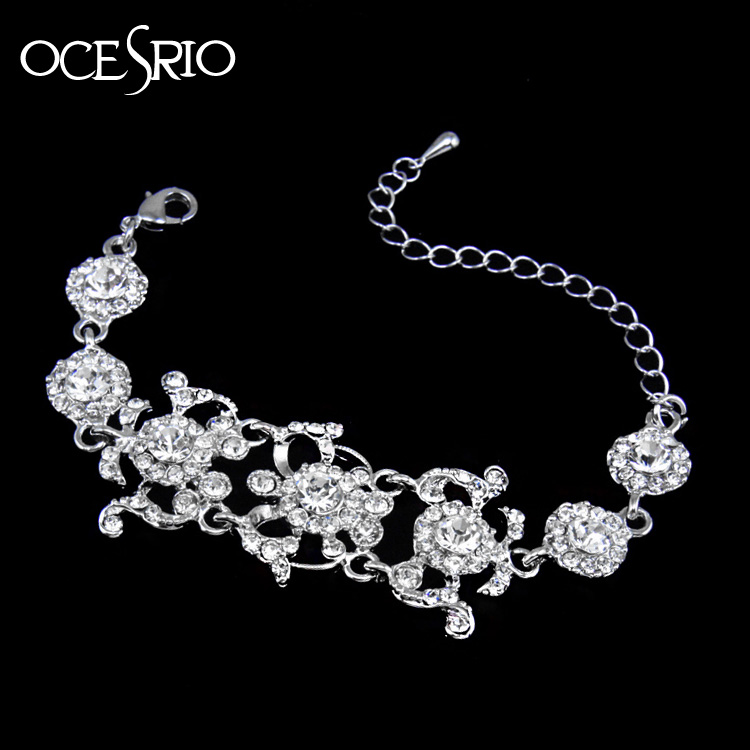 High Quality Crystal Rhinestone Bracelet Bangle luxury silver bracelet  female large chain link bracelet women pulseras brt-j87 cf0bddaa3c
