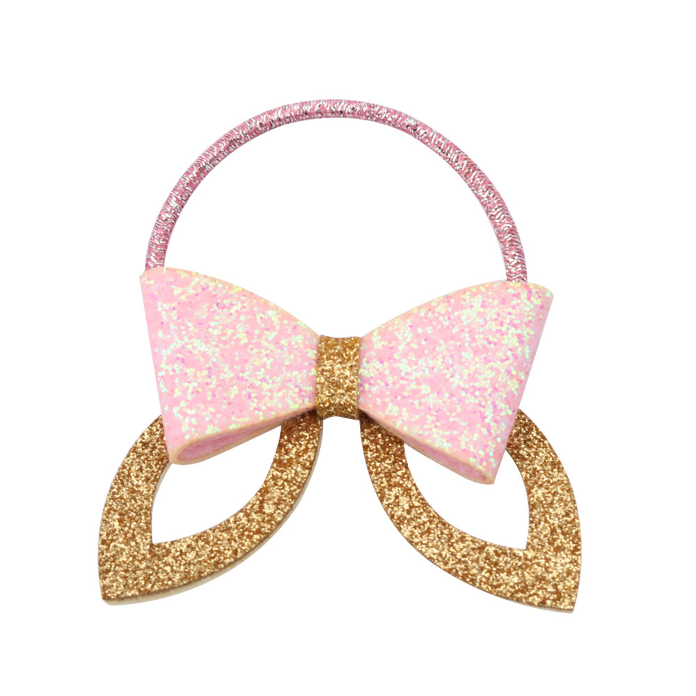 2017 Fashion Girls Barrette Glitter Silver/Gold Rabbit Ear Hair Clip Women Elastic Hair Bands Headband for Ponytail Rope
