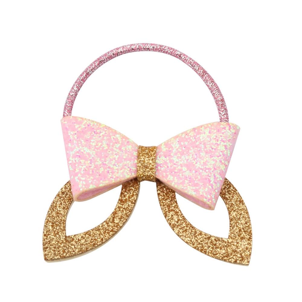 2017 Fashion Girls Barrette Glitter Silver/Gold Rabbit Ear Hair Clip Women Elastic Hair Bands Headband for Ponytail Rope